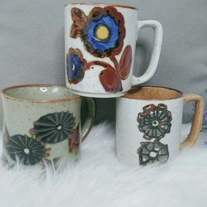 3 Vintage Pottery Mugs Handcrafted Artisian